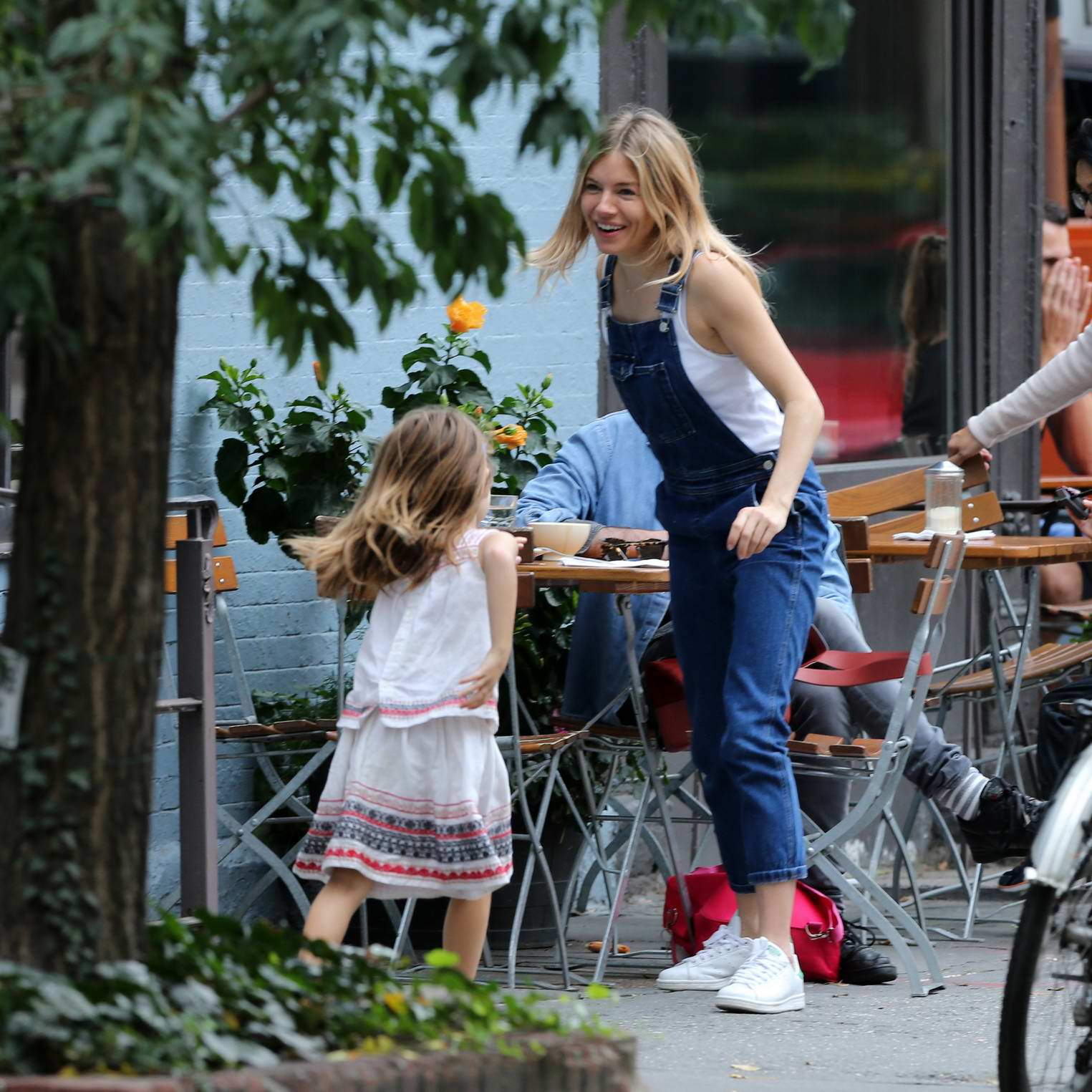 Sienna Miller and Tom Sturridge enjoys breakfast with their daughter at Le Pain Quotieden in West Village, New York City