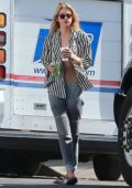 Stella Maxwell stops to get coffee in Los Feliz, California