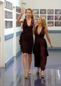 Tricia Helfer with Itati Cantoral promotes her TV show 'Lucifer' on Noches Con Platanito in Los Angeles