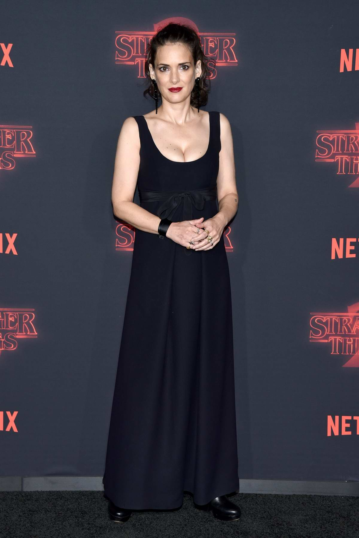 Winona Ryder at the premiere of Stranger Things 2 in Los Angeles