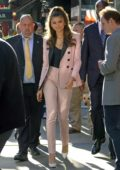 Zendaya Coleman wears a pink pantsuit outside 'Good Morning America' in New York City