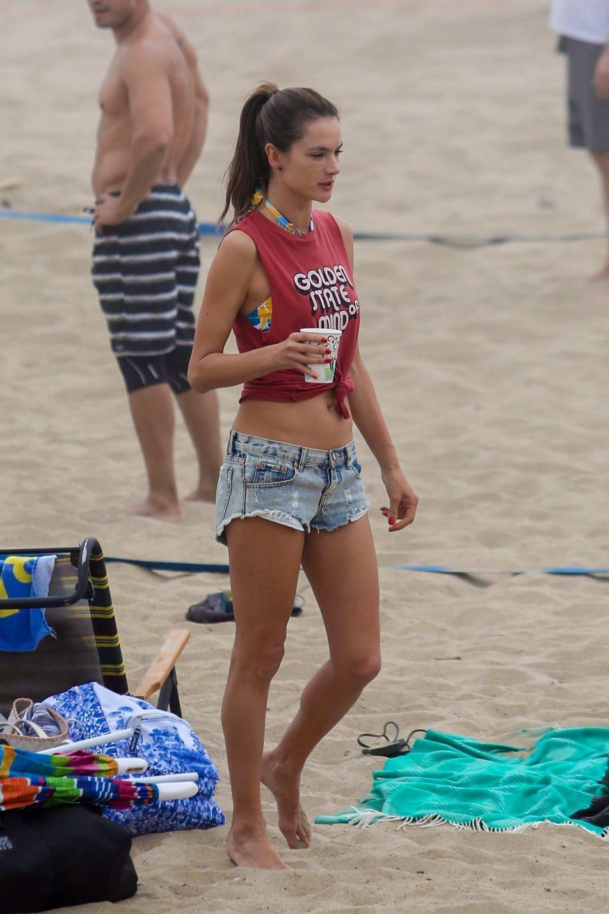Alessandra Ambrosio plays volleyball on the beach in Santa Monica, California