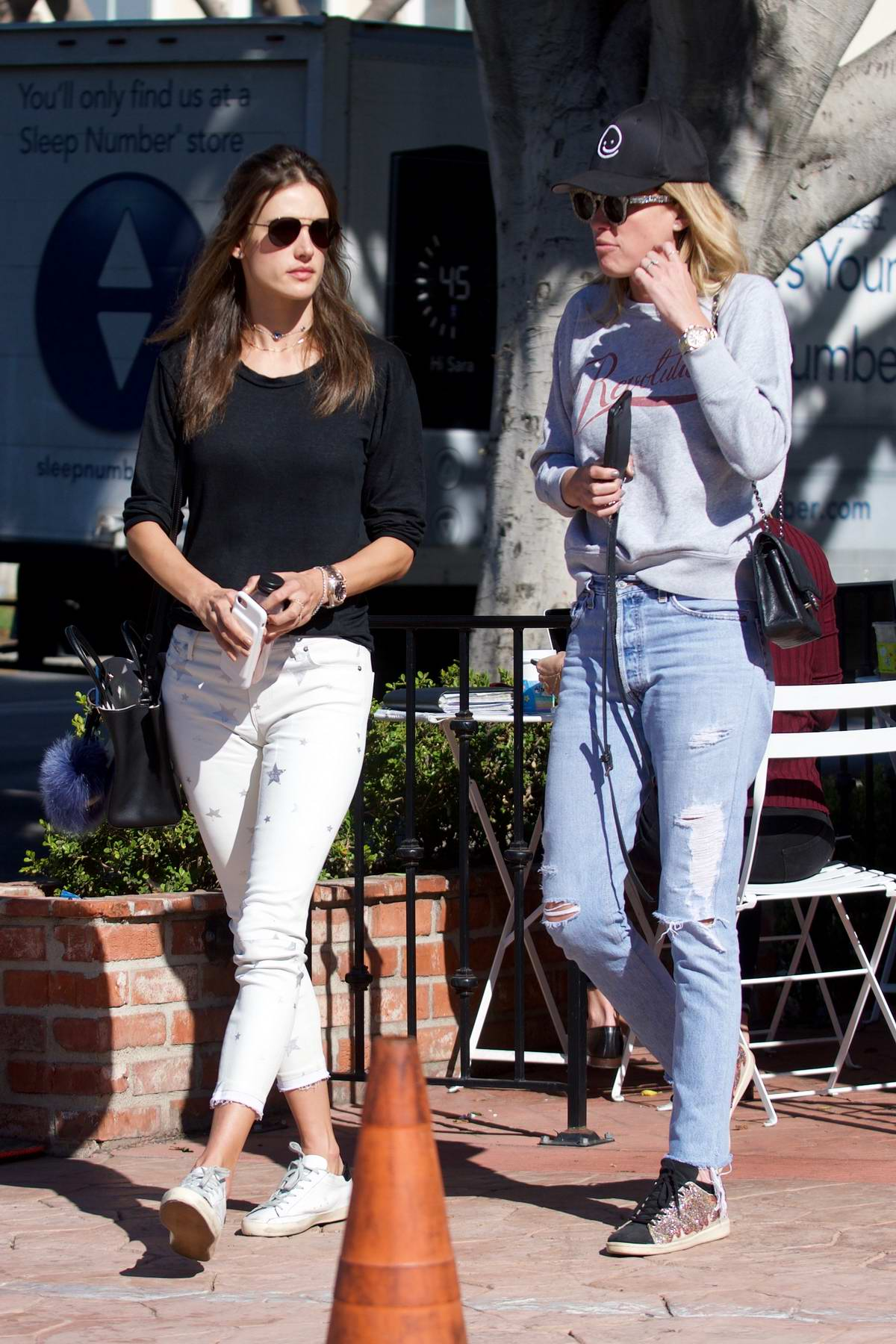 Alessandra Ambrosio spotted leaving Alfred Coffee in Brentwood, Los Angeles