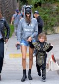 Alessandra Ambrosio take her kids trick or treating for Halloween in Brentwood, Los Angeles