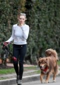 Amanda Seyfried takes her dog for a walk in West Hollywood, Los Angeles