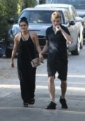 Ariel Winter out and about in a black dress with Levi Meaden in Los Angeles