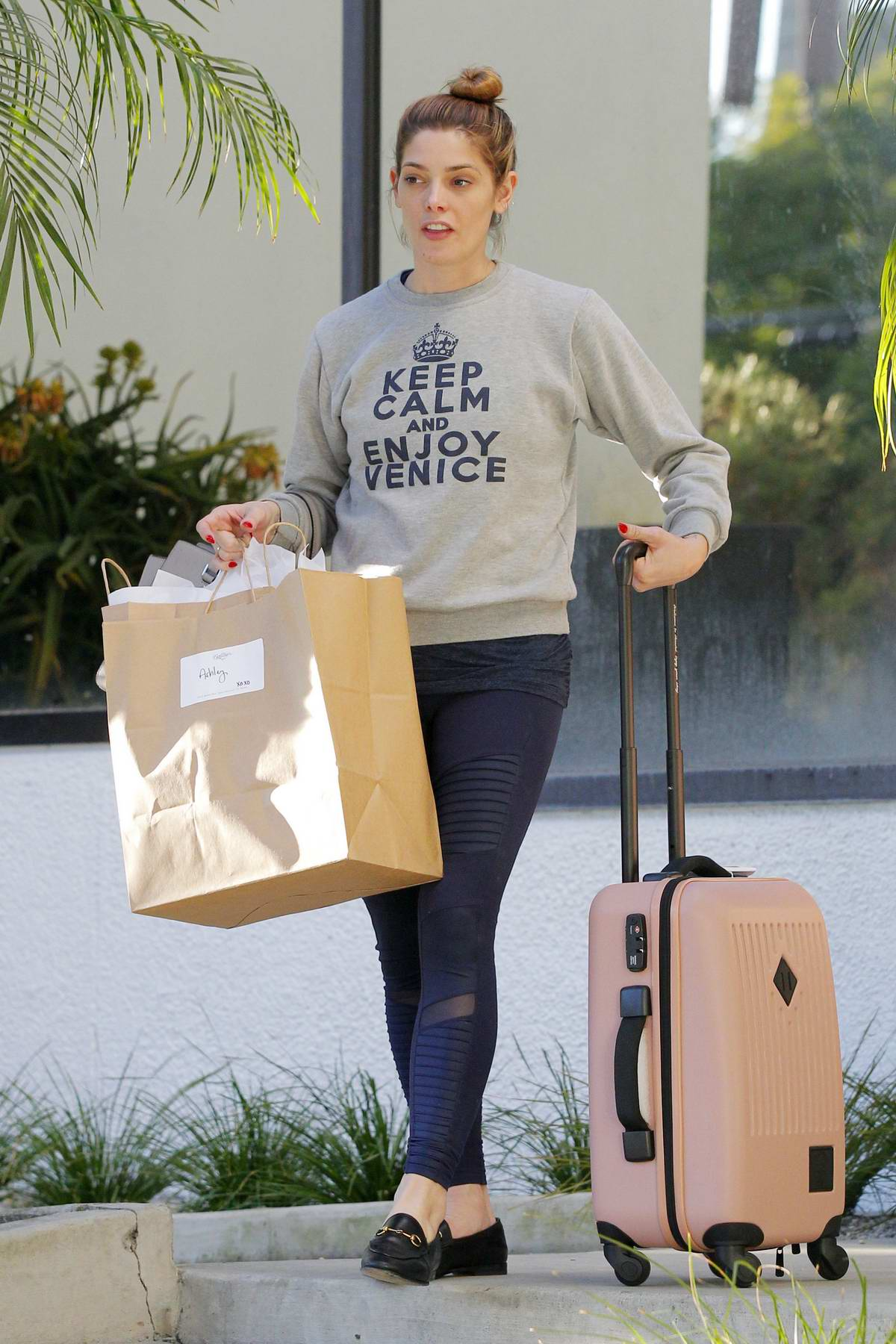 Ashley Greene shopping for a suitcase in Beverly Hills, Los Angeles