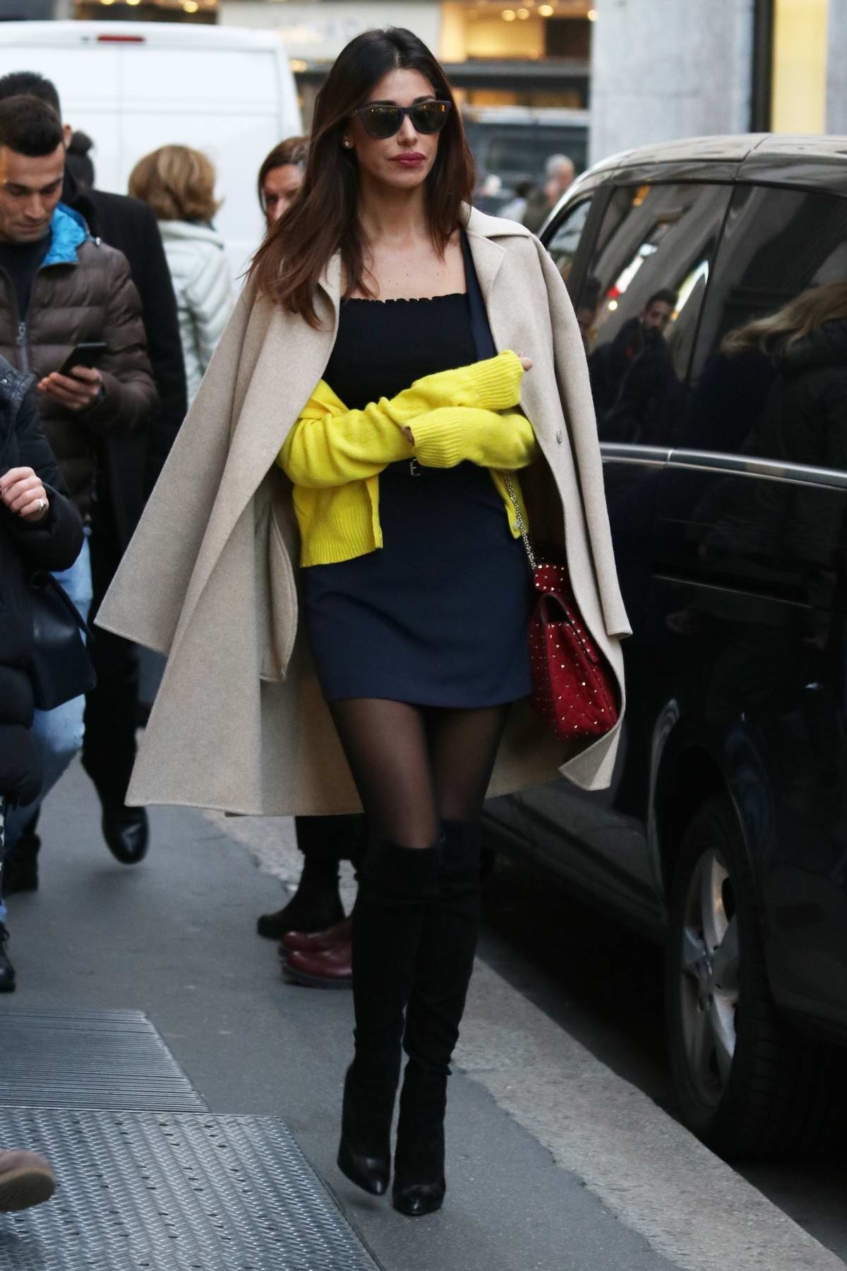 Belen Rodriguez spotted while shopping with a friend in Milan, Italy