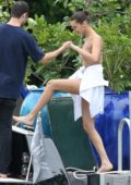 Bella Hadid enjoy a boat ride with friends in Miami, Florida