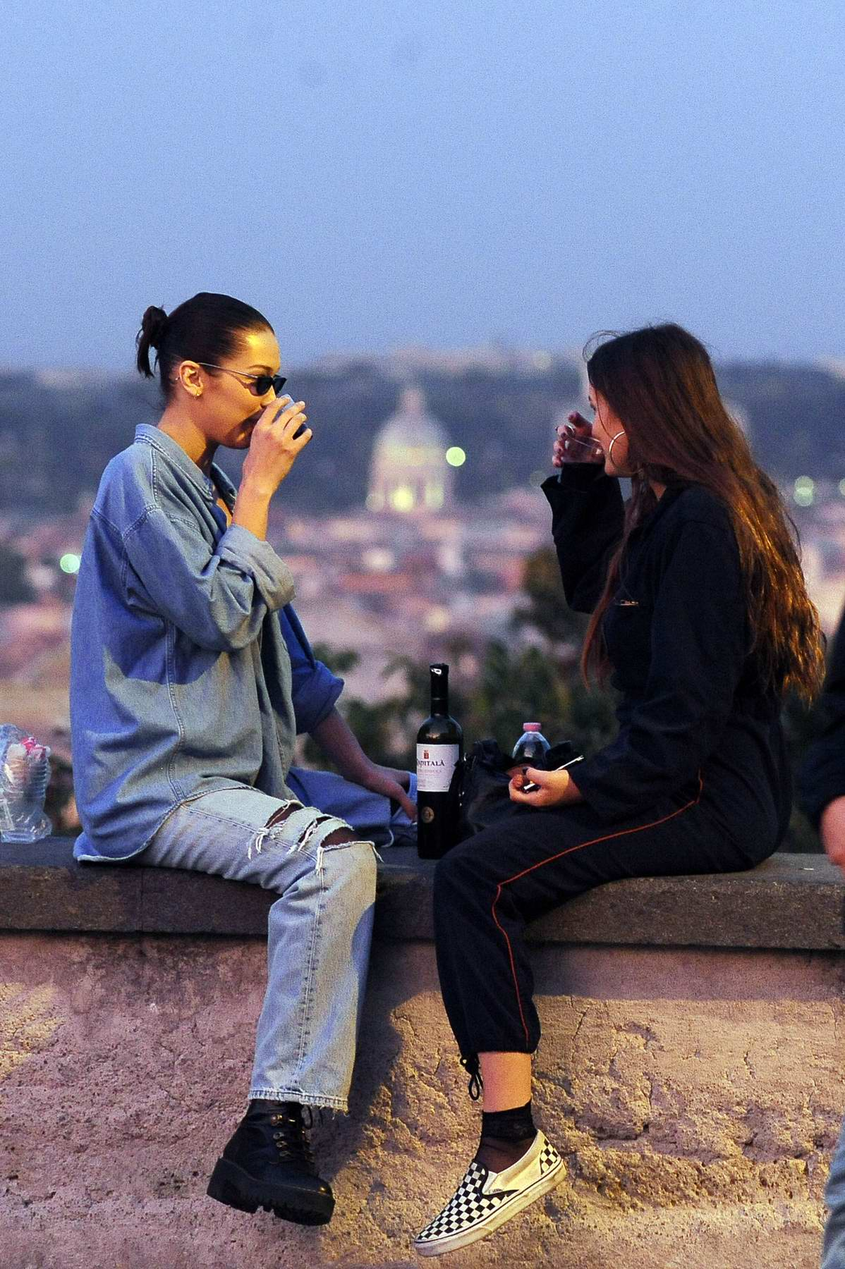 Bella Hadid enjoy a day out with a friend in Rome, Italy