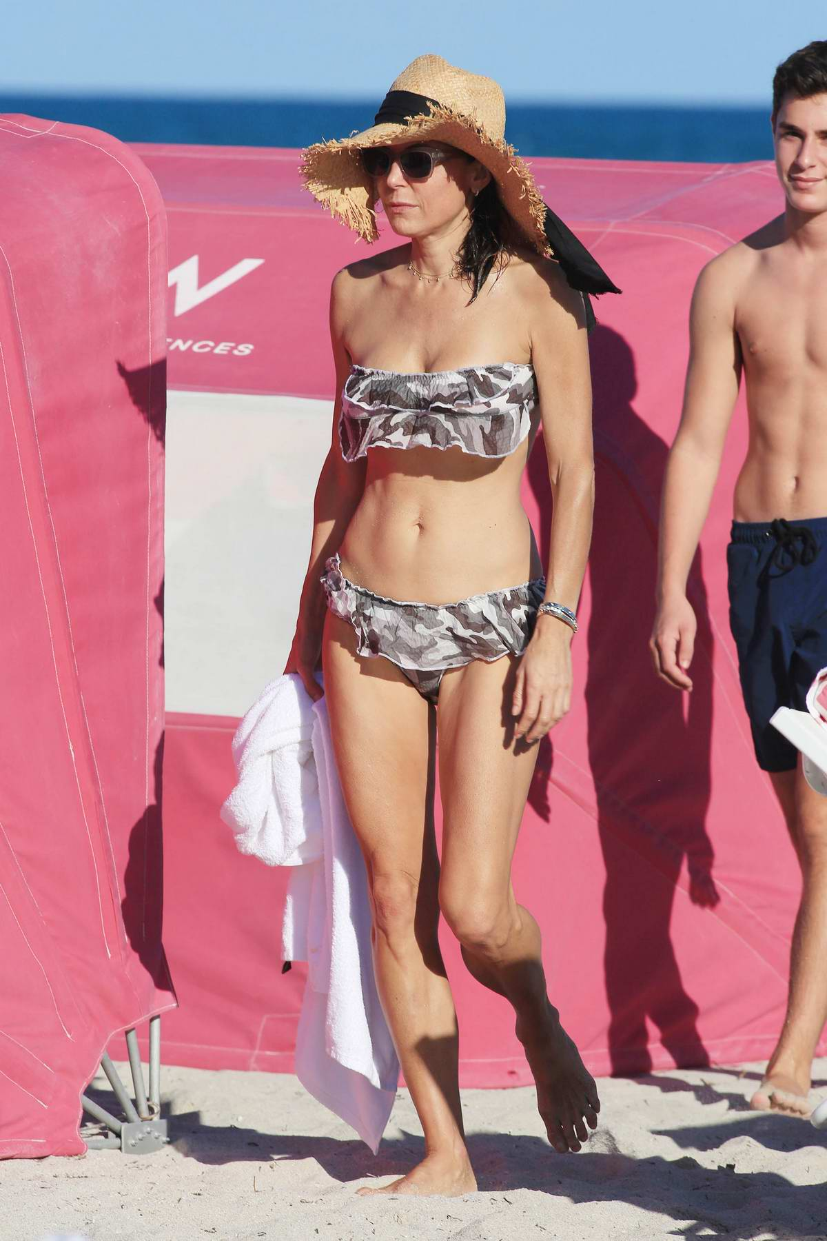 Bethenny Frankel wears a floral bikini as she hits the beach in Miami, Florida