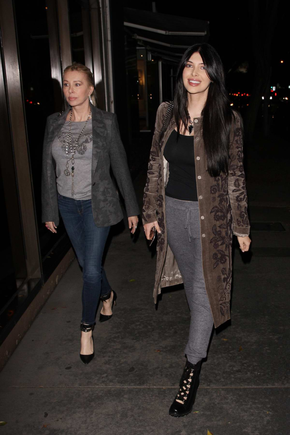 Brittny Gastineau and her mother head to Madeo restaurant for dinner in West Hollywood, Los Angeles