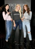 Candice Swanepoel, Taylor Hill & Liu Wen visit a Victoria's Secret store in Shanghai, China