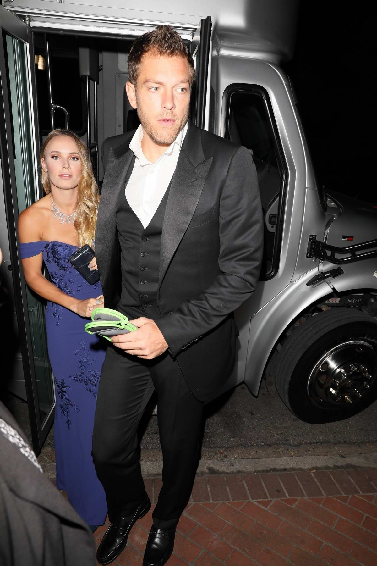 Caroline Wozniacki and David Lee arriving to the Serena Williams and Alexis Ohanian wedding in New Orleans