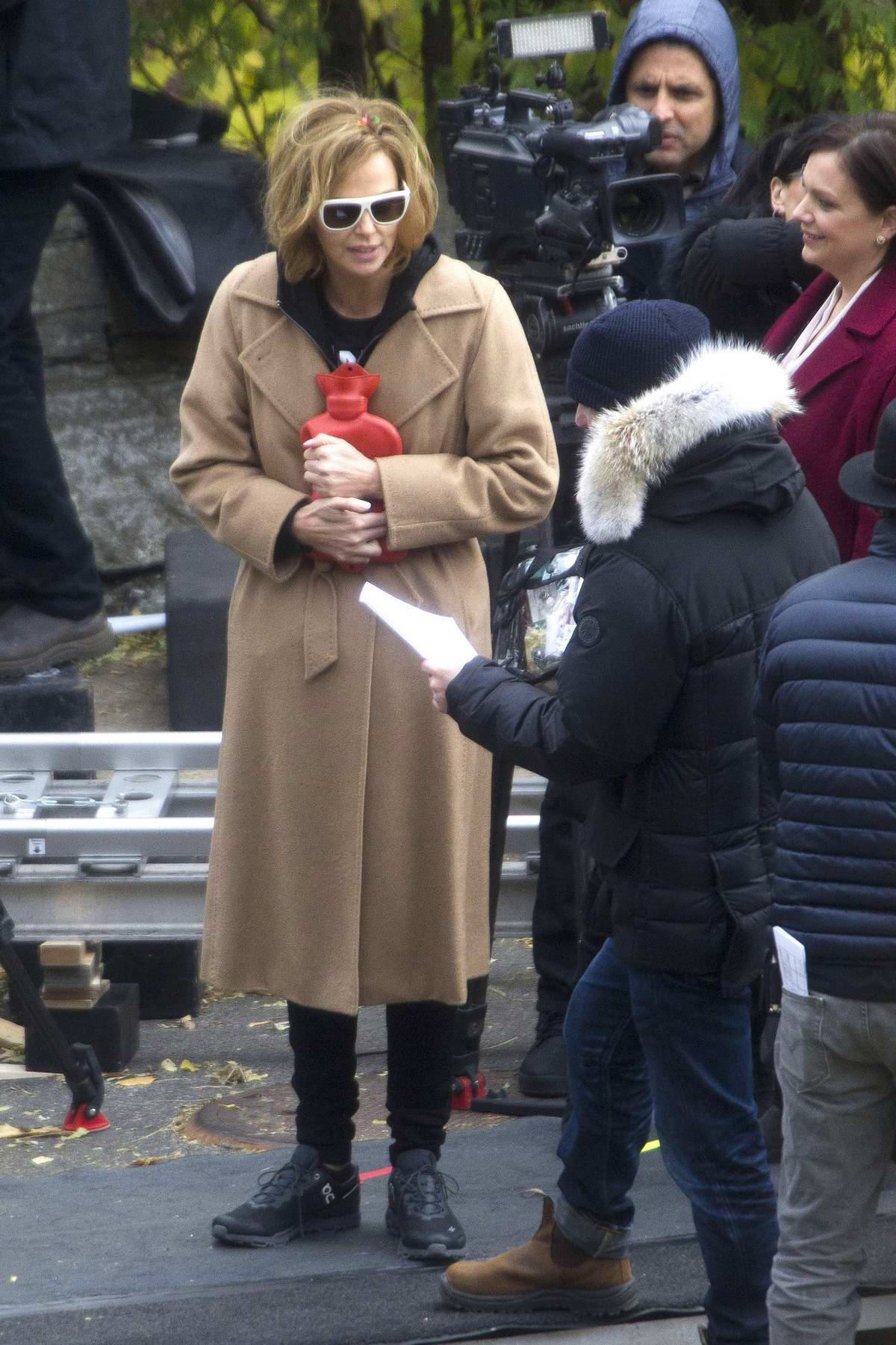 Charlize Theron spotted while filming scenes for her upcoming movie 'Flarsky' in Montreal, Canada