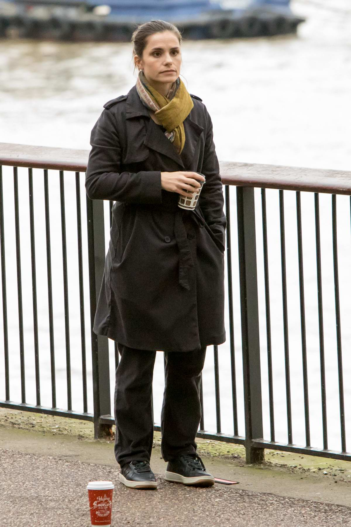 Charlotte Riley is spotted filming scenes for upcoming drama 'Press' on the banks of the Thames in London