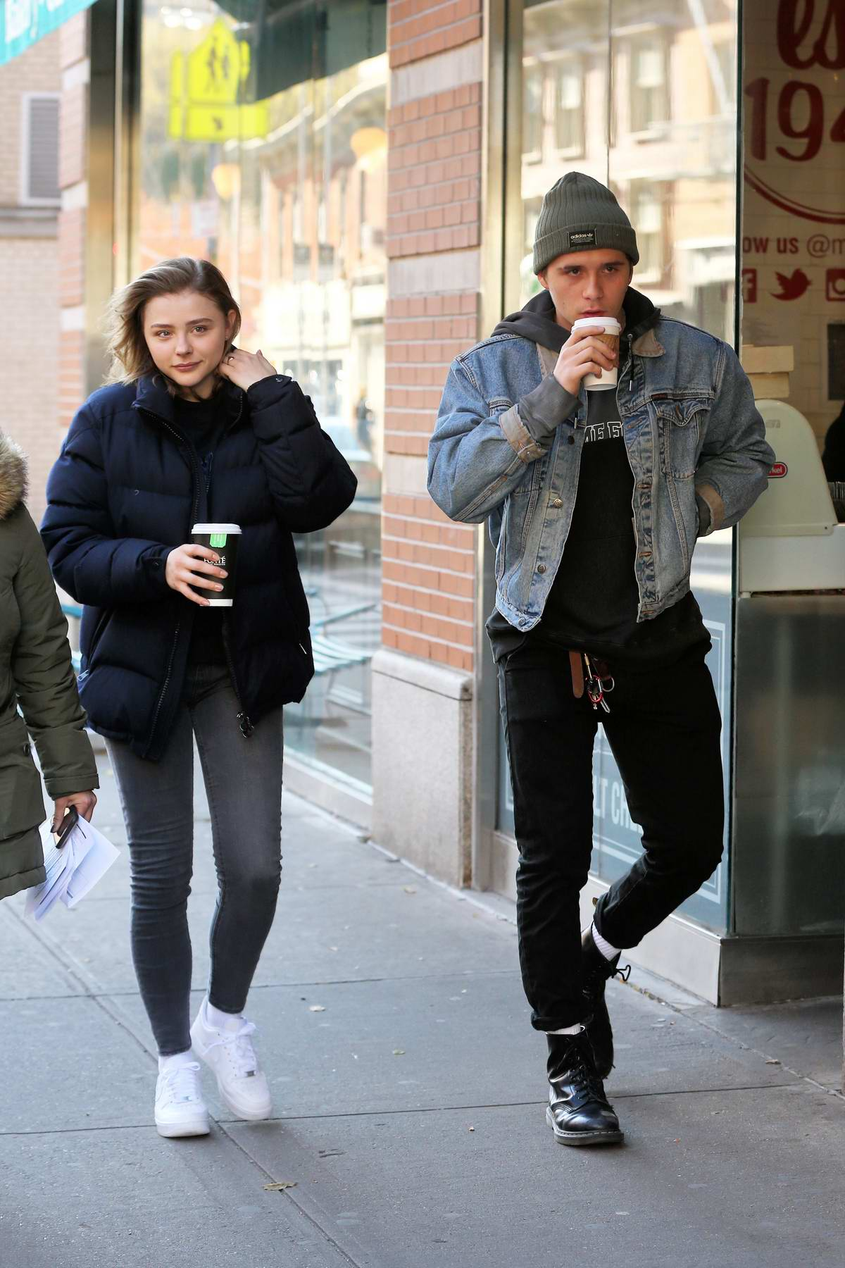 Chloe Grace Moretz grabs coffee with her boyfriend Brooklyn Beckham between takes filming 'The Widow' in New York City