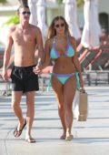 Chloe Meadows in an turquoise bikini soaking up the sun while on holiday in Mexico