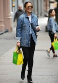 Chrissy Teigen wears a denim jacket while out and about in SoHo, New York City