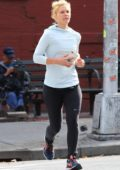 Claire Danes out for an early morning jog in downtown Manhattan, New York