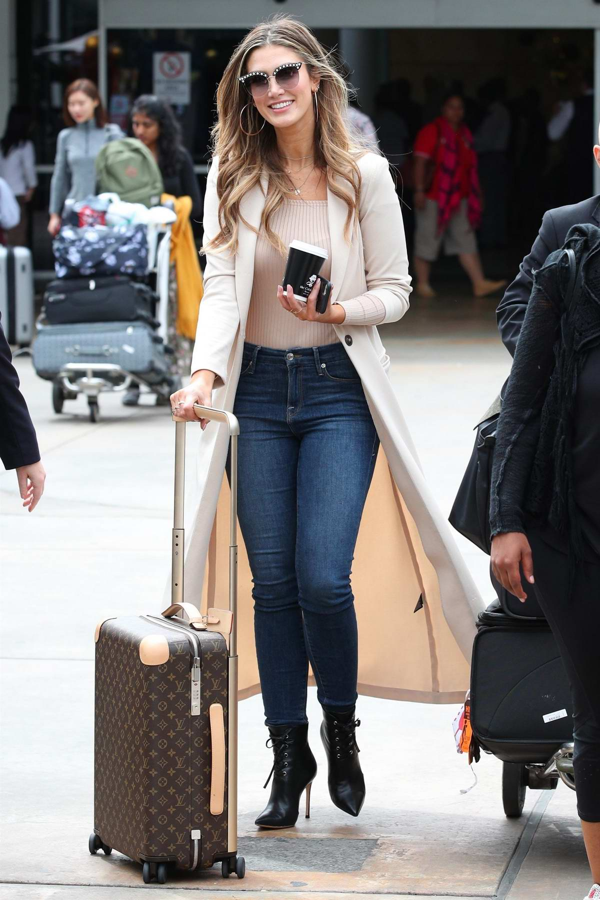 Delta Goodrem spotted at the airport in Sydney, Australia