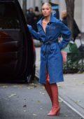 Elsa Hosk seen wearing a denim coat in New York City