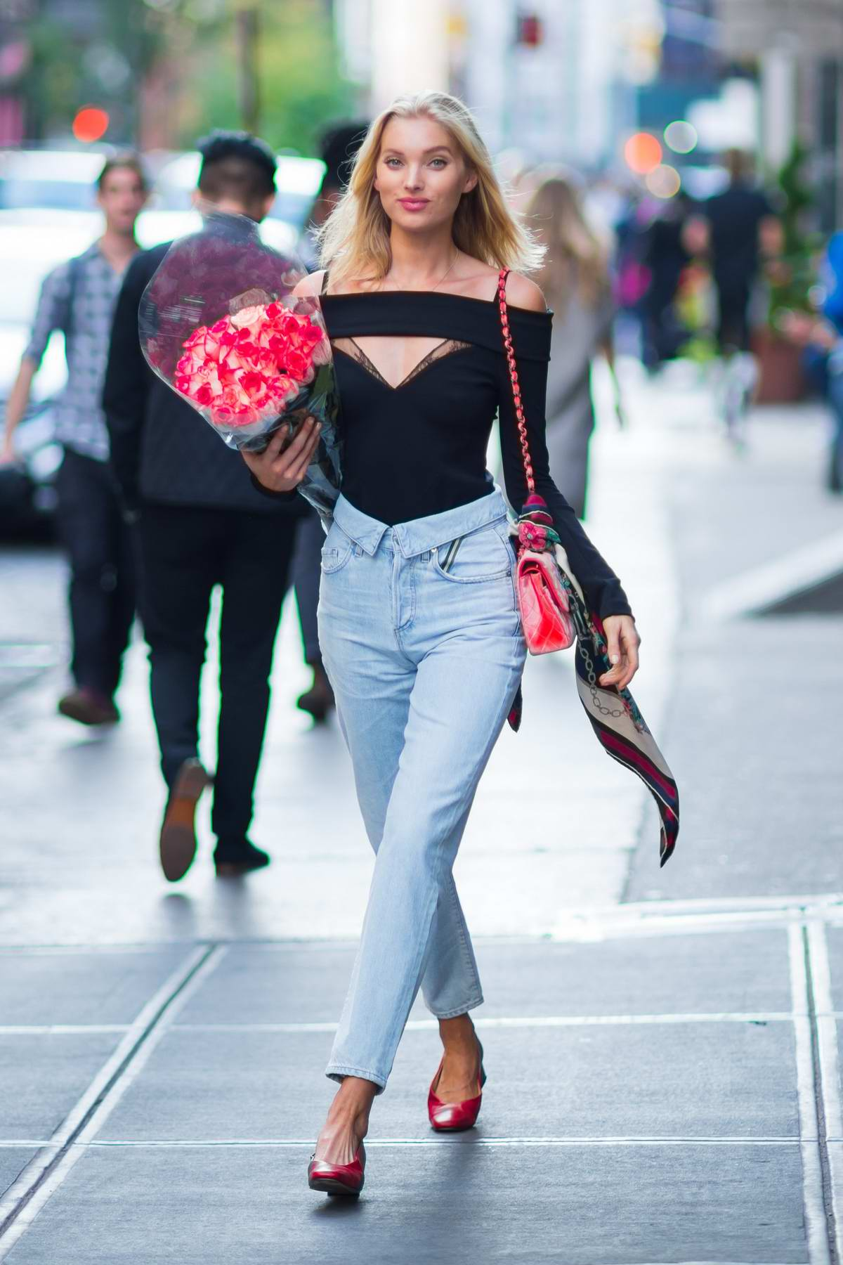 Elsa Hosk spotted with a bouquet of roses on her birthday in New York City