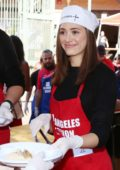 Emmy Rossum at the thanksgiving meal for the homeless at Los Angeles Mission, Los Angeles