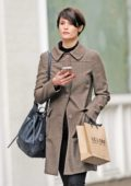 Gemma Arterton carrying a Le Labo fragrances bag while out shopping in Marylebone in London