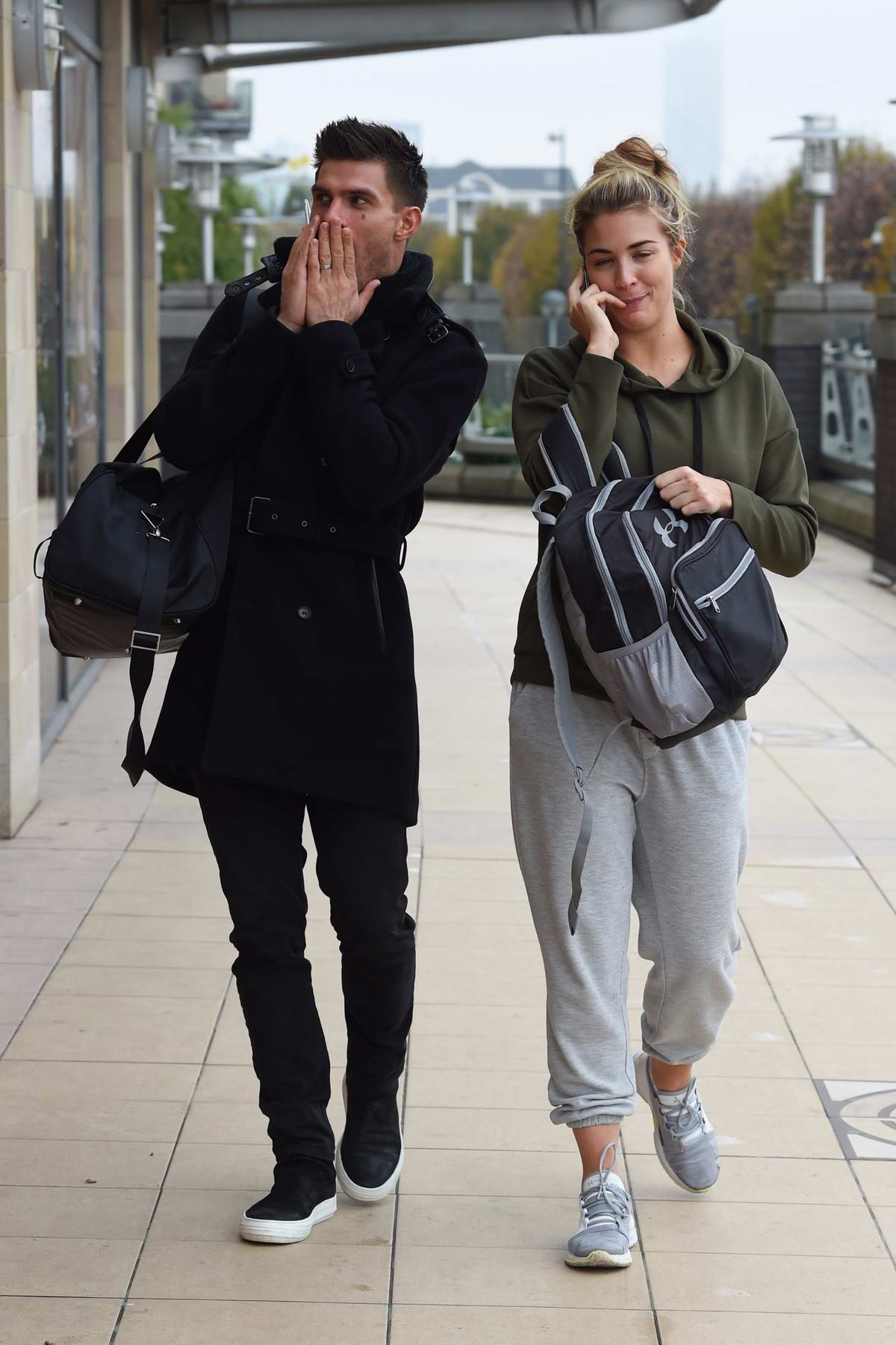 Gemma Atkinson and Aljaz Skorjanec spotted leaving Key 103 radio station in Manchester, UK