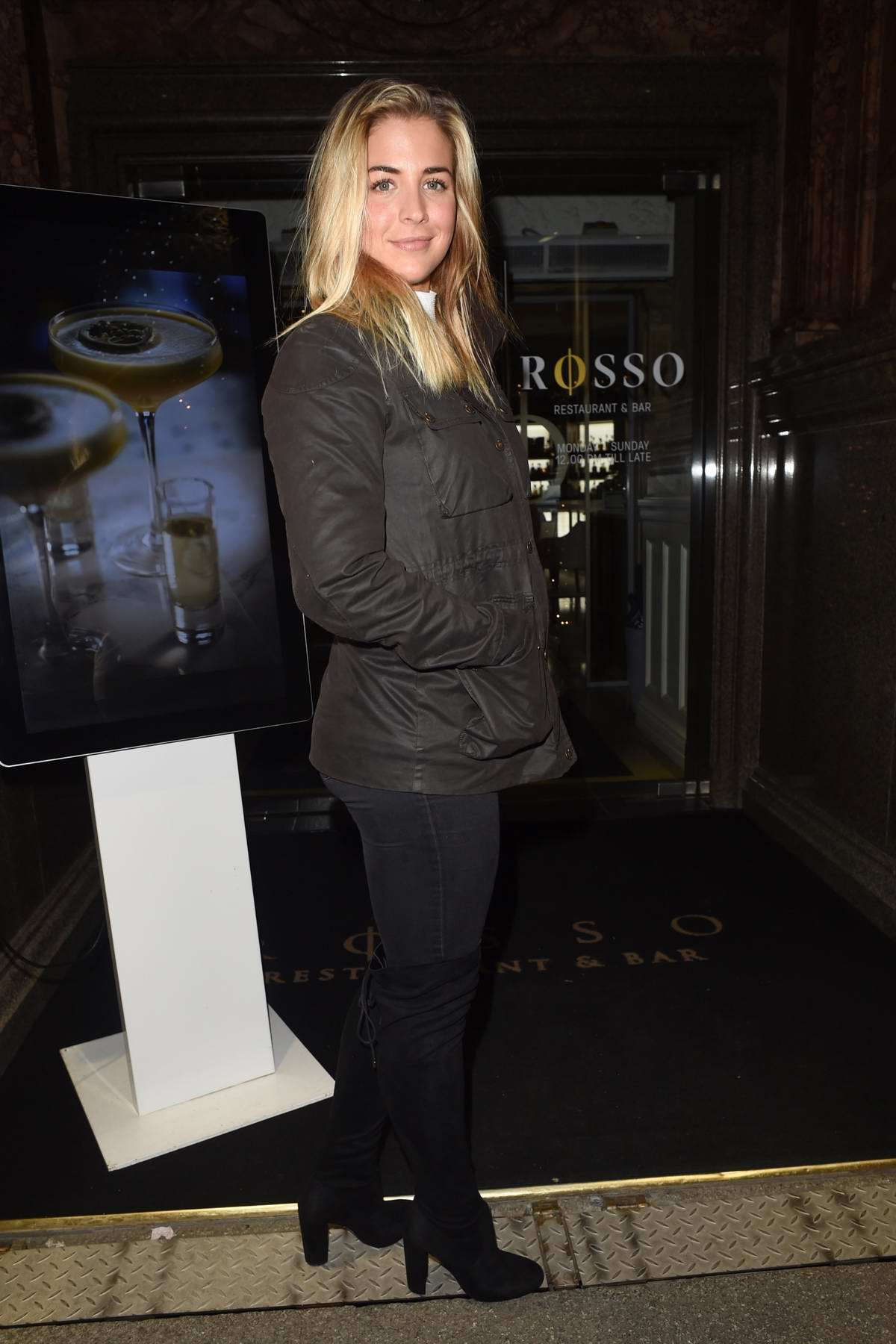 Gemma Atkinson leaving Rosso Restaurant in Manchester, UK