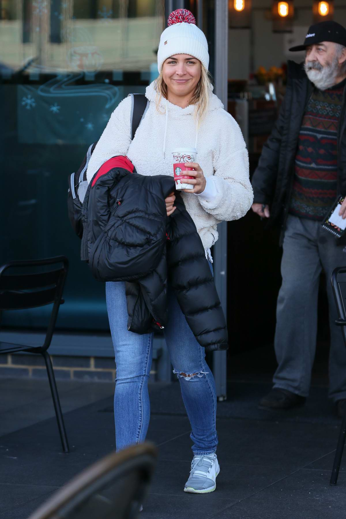 Gemma Atkinson seen wrapped up against the cold frosty morning with a coffee outside the Strictly Come Dancing hotel in London