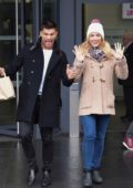 Gemma Atkinson spotted while leaving the BBC breakfast studio in Manchester, UK