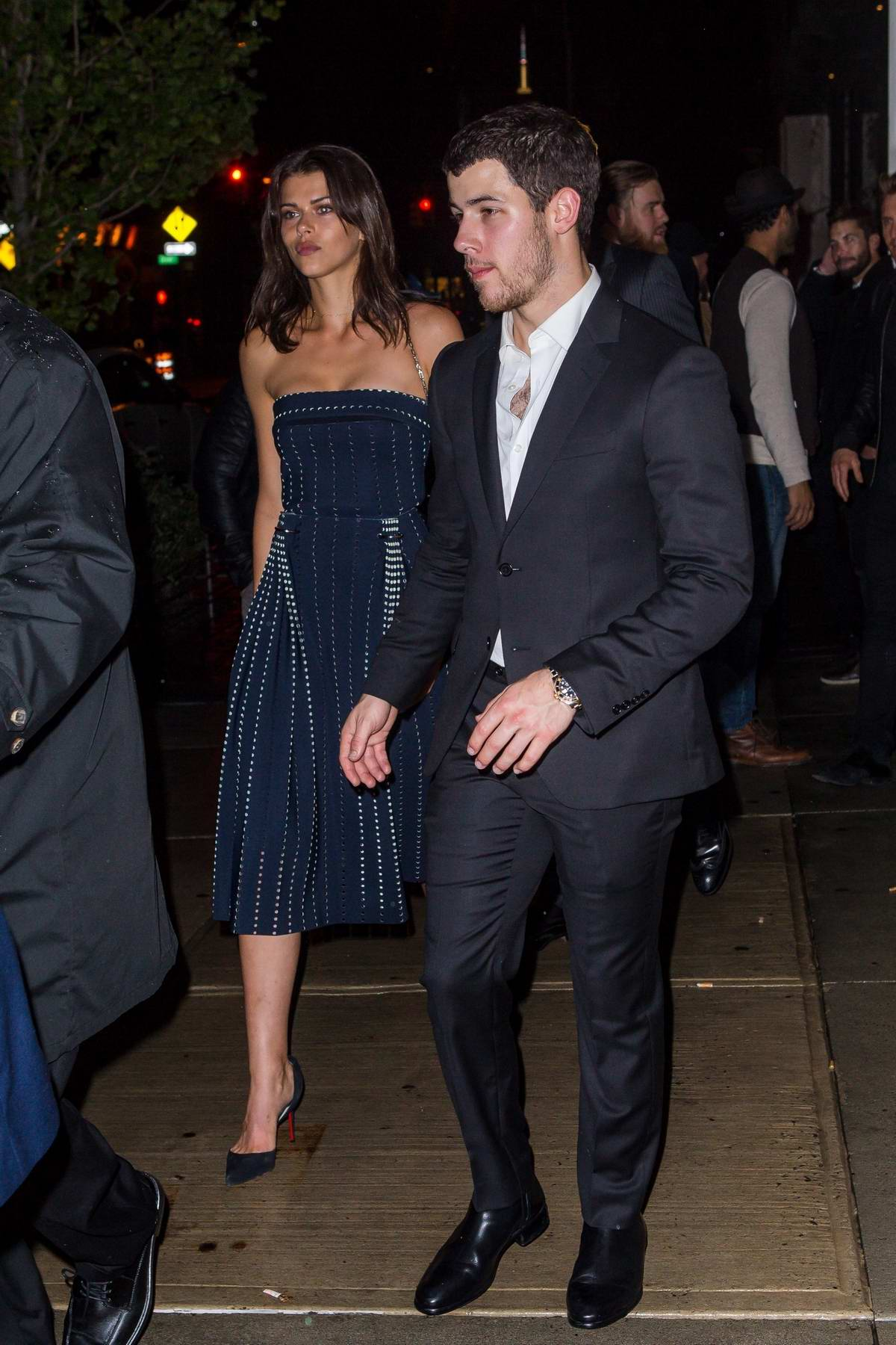 Georgia Fowler and Nick Jonas leaving Joe Jonas and Sophia Turner's engagement party in New York