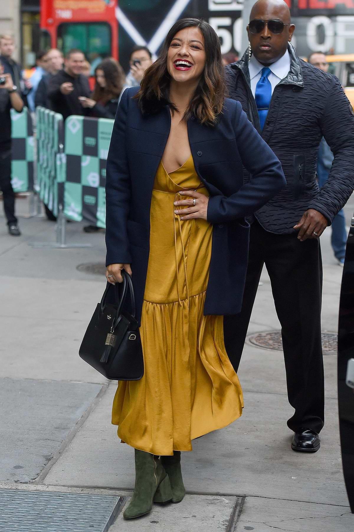 Gina Rodriguez seen outside AOL Build studios in New York City