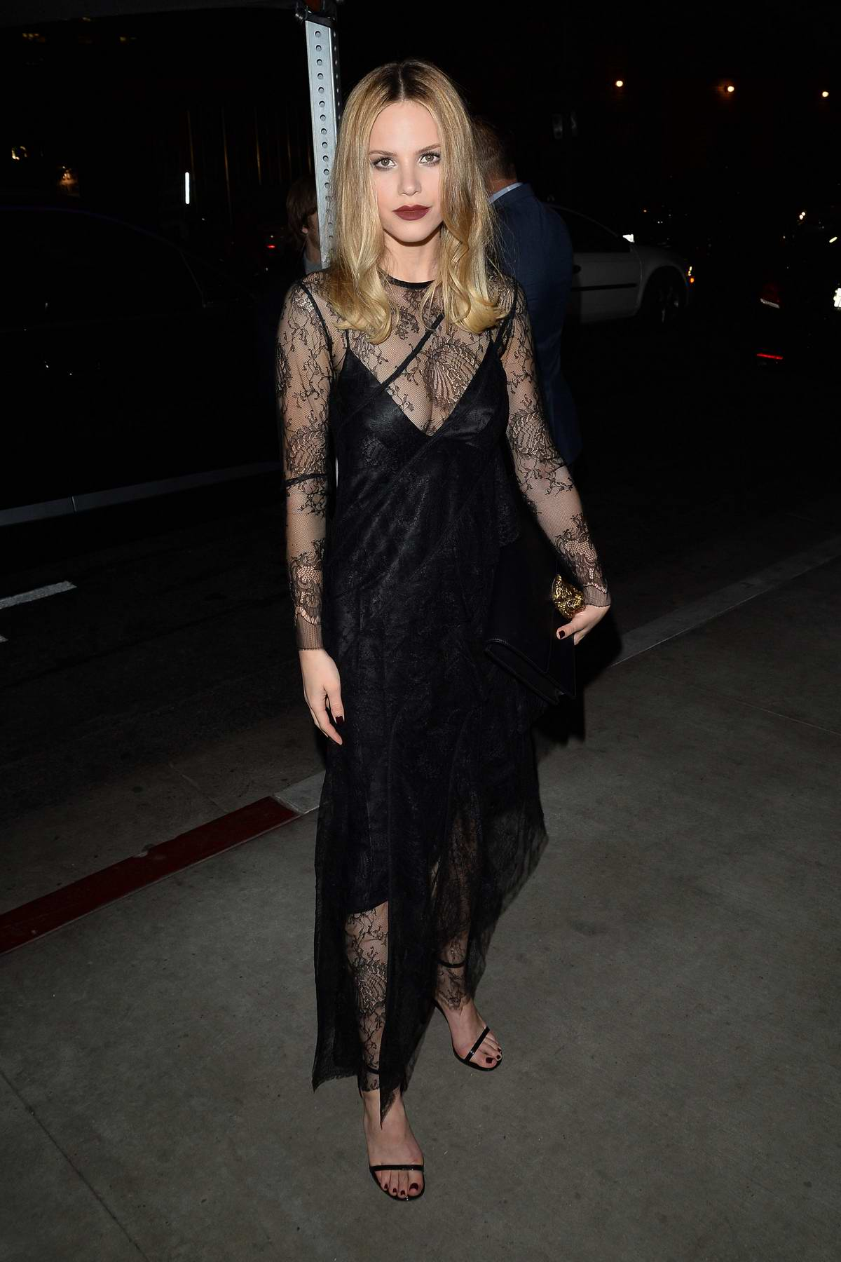 Halston Sage arrives to a charity event in Hollywood, Los Angeles
