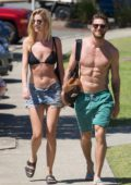 Hannah Cooper and boyfriend Joel Dommett takes a walk near the beach, Australia