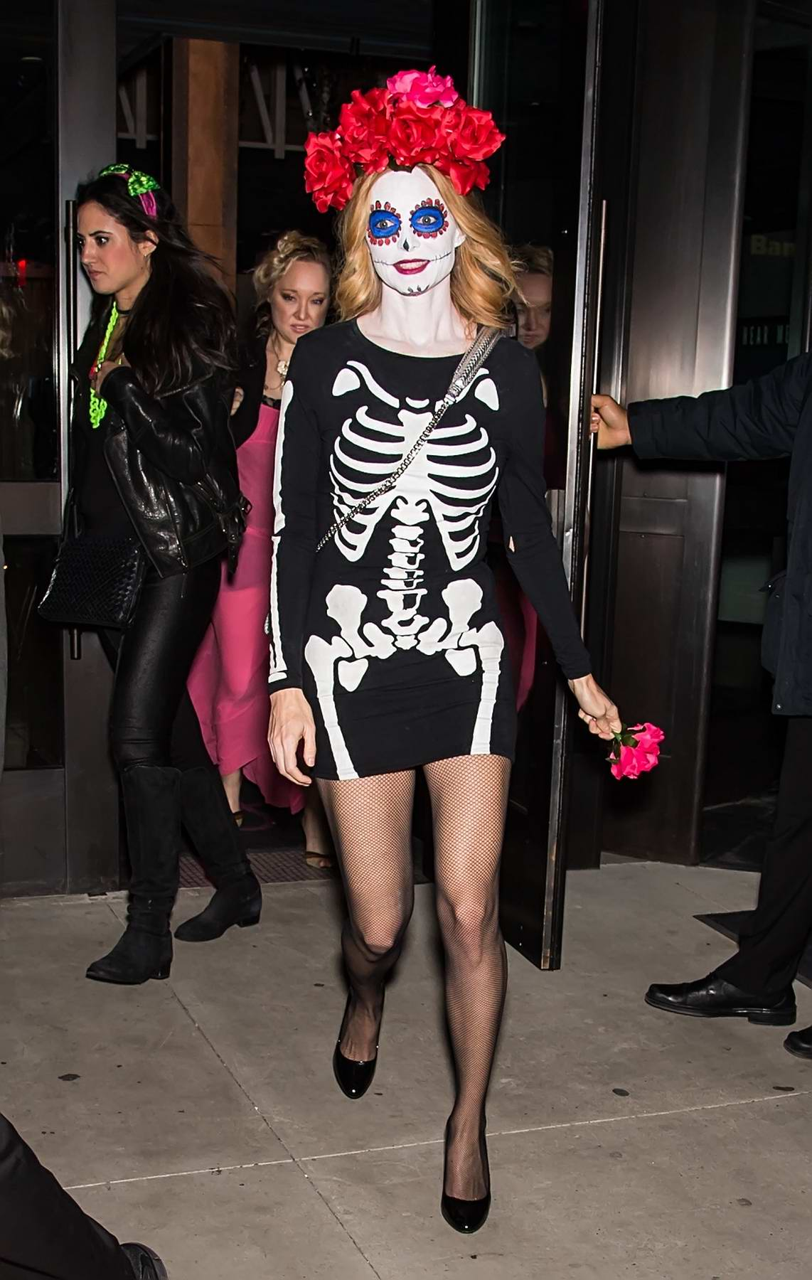 Heather Graham is seen leaving Heidi Klum's 18th annual Halloween party at Magic Hour Rooftop Bar & Lounge in New York