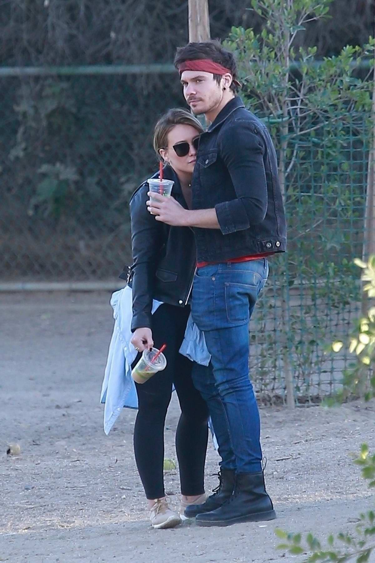 Hilary Duff enjoys a day out with Matthew Koma at a dog park in Los Angeles