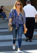 Hilary Duff wearing a floral top and skinny jeans, grabs lunch at La Scala in Beverly Hills, Los Angeles