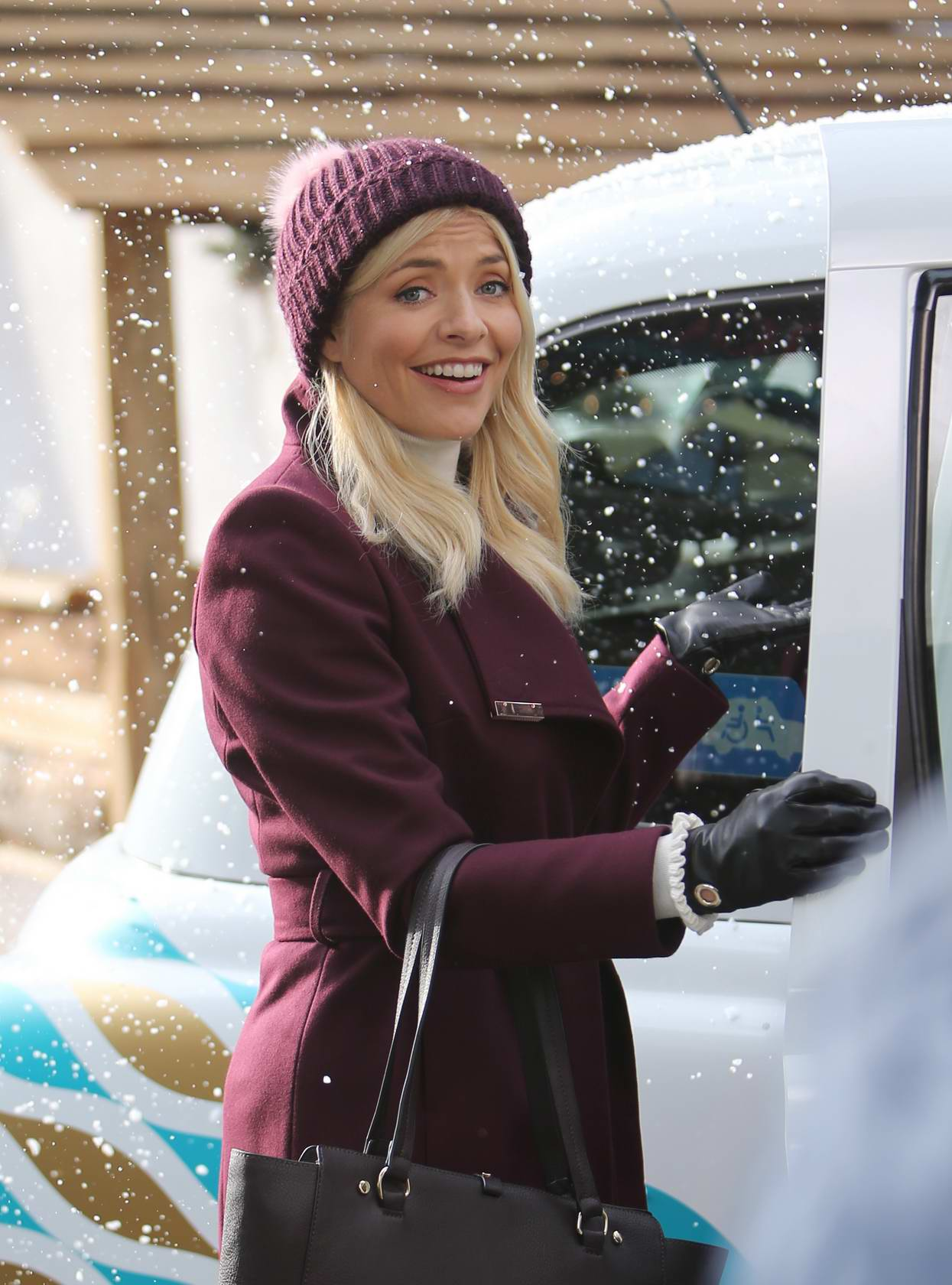 Holly Willoughby filming on the south bank outside ITV studios in London