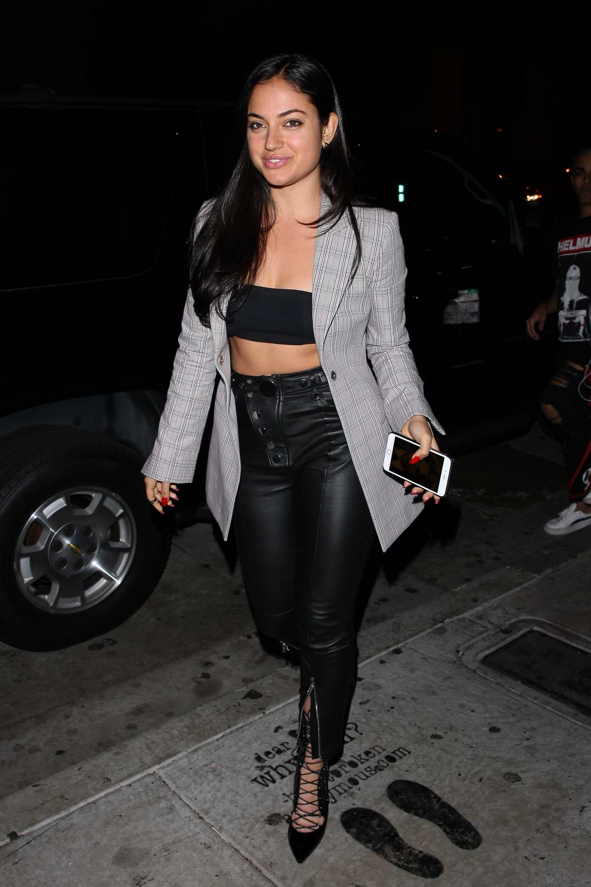 Inanna Sarkis wears a grey blazer jacket as she heads to Catch restaurant in West Hollywood, Los Angeles