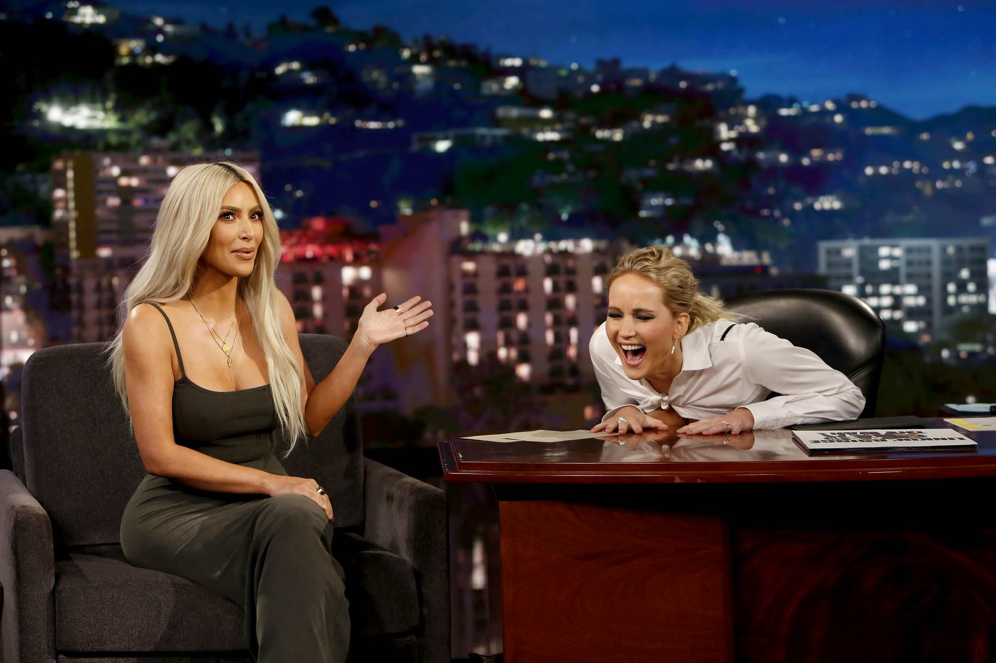 Jennifer Lawrence guest hosting Kim Kardashian on 'Jimmy Kimmel Live' in Los Angeles