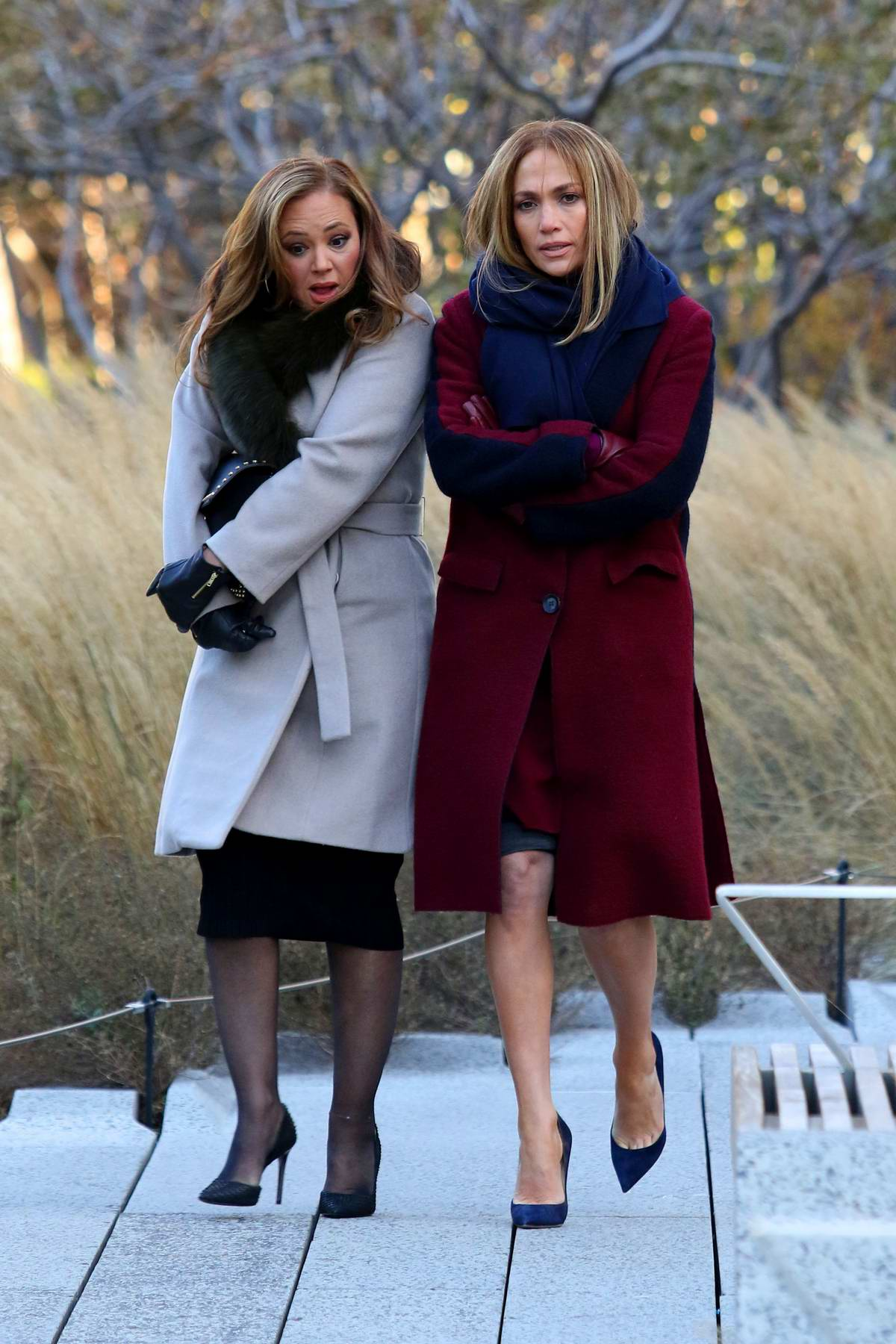Jennifer Lopez and Leah Remini filming 'Second Act' in the highline in New York City