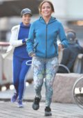 Jennifer Lopez and Vanessa Hudgens filming a jogging scene on set of 'Second Act' in New York City