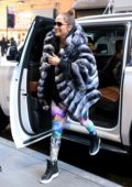 Jennifer Lopez arrives at the gym in a faux fur coat in New York City
