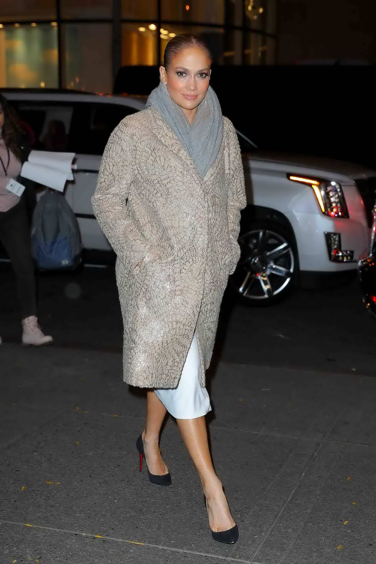 Jennifer Lopez arriving at Rainbow Room for film the 'Second Act' in New York City
