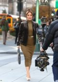 Jennifer Lopez changes into two outfits while filming scenes for 'Second Act' in Manhattan, New York City