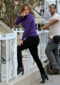 Jennifer Lopez waves to fans on the set of 'Second Act' filming in queens in New York City