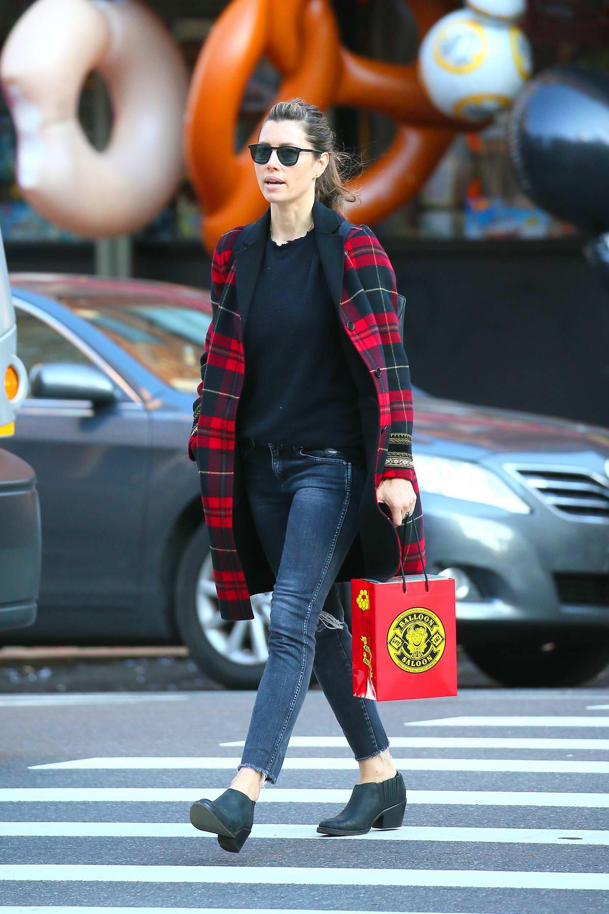 Jessica Biel seen running errands in Tribeca, New York